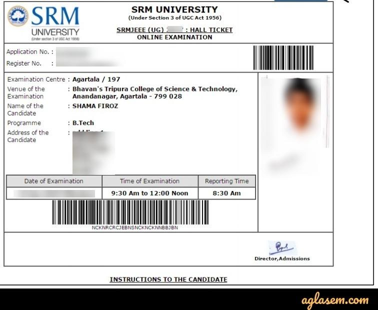 SRMJEEE Admit Card