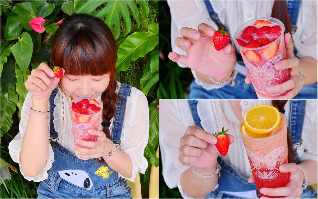 大苑子茶飲專賣_台中飲料:莓好相遇吃得到18顆新鮮草莓+草莓牛奶冰沙必點!療癒草莓季別錯過!