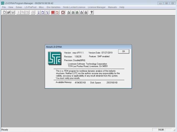 Working with LS-DYNA SMP R11.1.0 Win64 full license