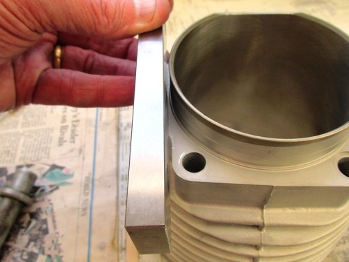 Machinist Flat Is Placed On Cylinder Flanger, But NOT On Top Of Ridge