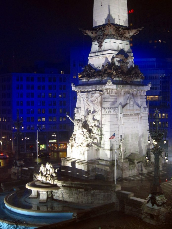 The Monument at night