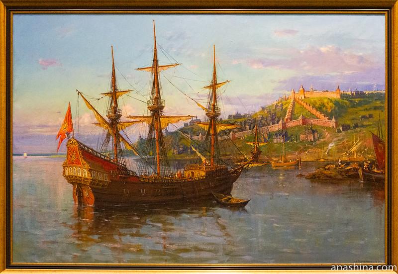 """Корабль """"Фредерик"""" на рейде Нижнего Новгорода в 1636 году."""