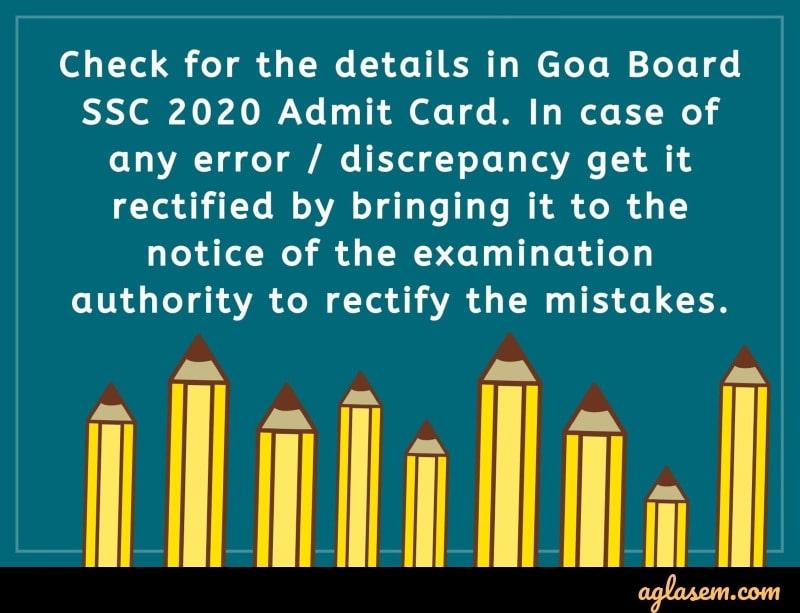 Goa Board HSC 2020 Admit Card Discrepancy
