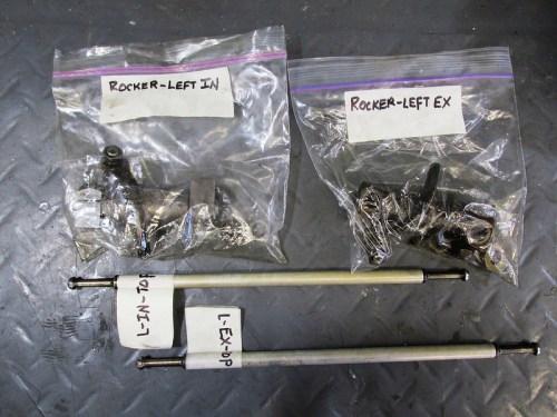 Left Side Valve Train Parts-Top: Rocker Assemblies, Bottom-Push Rods