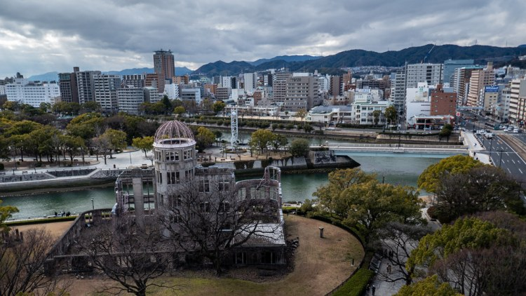 The ground zero of the atomic bomb in Hiroshima. Japanese proverbs often refer to resilience.