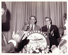 Transit union president Davis in a happy moment: 1975 ca.