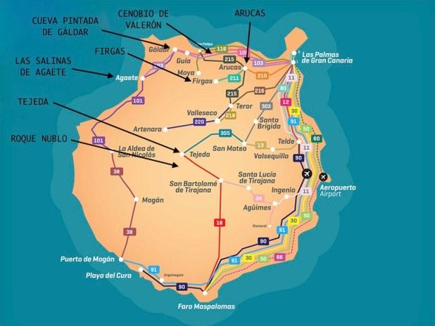 Mapa de Gran Canaria con los lugares más bonitos del norte