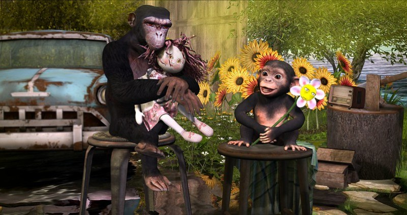 Enjoying a spring-like day with my favorite chimp...