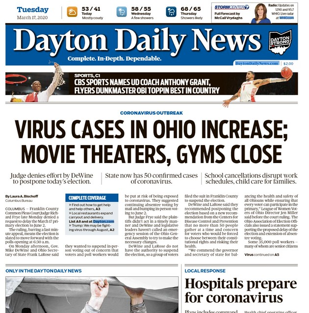 The front page of the Dayton Daily News, 3/17/20.