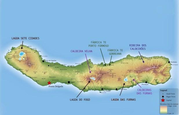 Mapa de Sao Miguel, Azores
