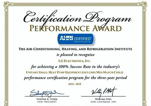 LG HA Aircon Multi V S Certificate