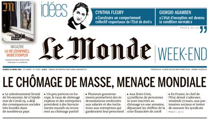 20e27 Le Monde El Paro de masas amenaza mundial