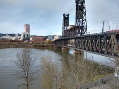 Steel Bridge with an Amtrak and a Max