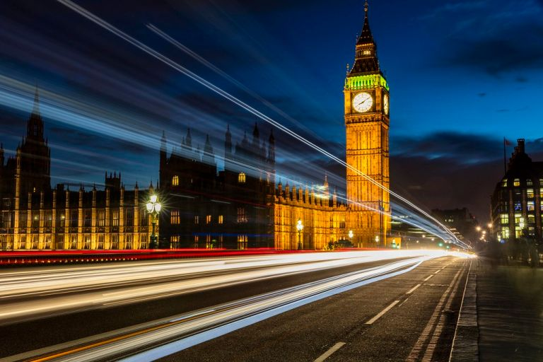 Big Ben and Light Trails at Blue Hour