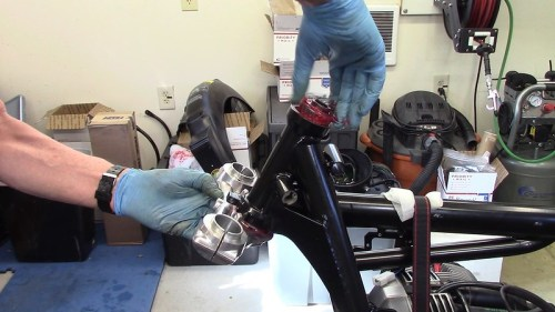 Install Steering Stem and Grease Packed Upper Inner Race
