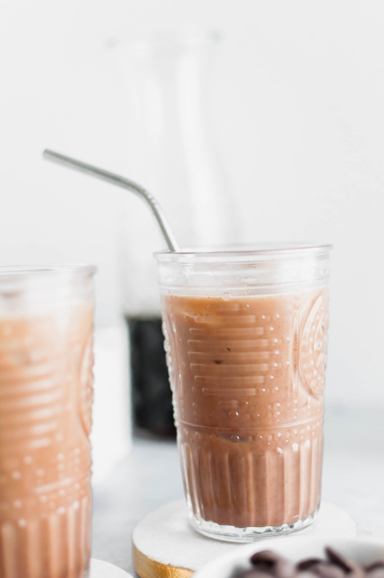 Missing your favorite coffee shop? Try making a classic at home with this Iced Mocha Recipe. Only three ingredients required!