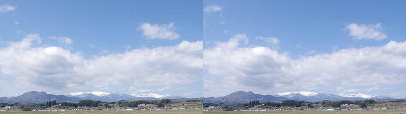 円田から望む蔵王 立体写真