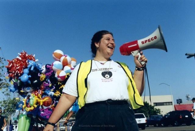 Wendy Sue Biegeleien at San Diego Pride Parade, c. 1995