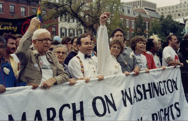 Morris Kight and Nicole Murray Ramirez at March on Washington, 1987
