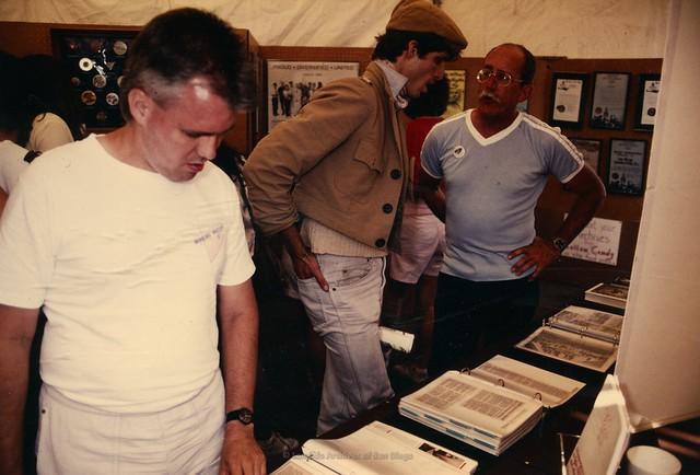 Lambda Archives Pride Tent, 1989- Jess Jessop (far right)