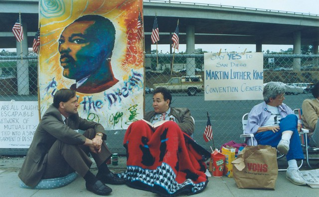 "Jim Woodward(left) and Nicole Murray Ramirez at the ""King Tribute Coalition"" vigil, 1989"