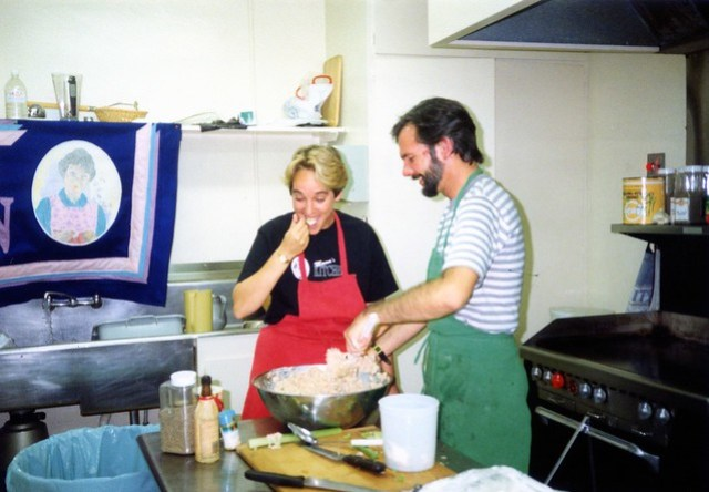 Laurie Leonard prepping in Mama's Kitchen, 1991