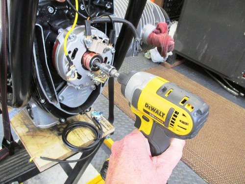 Electric Impact Driver Removes Rotor Bolt Without Turning Crankshaft