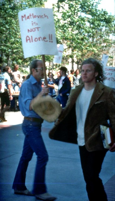 "Robert ""Jess"" Jessop at San Diego State University protesting Military Policy of Discrimination against gays and Lesbians, c.1978"