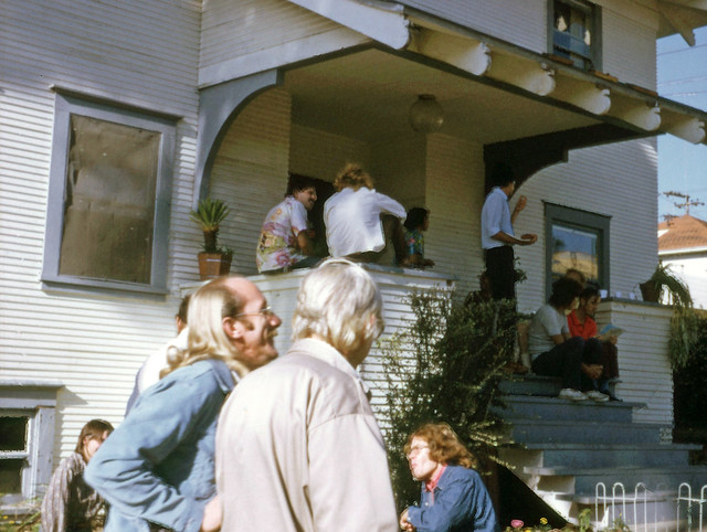 "Robert ""Jess"" Jessop(left) and Morris Kight in front of the  first San Diego Gay Center for Social Services, 1973"