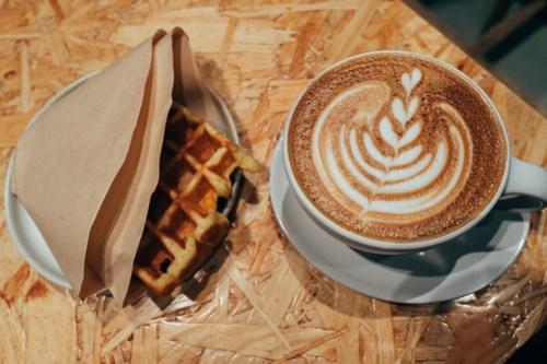 Latte & waffle at Blue Bottle, Kobe, Japan