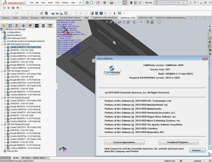 Working with CAMWorks 2020 SP2 Build 2020.04.13 for solidworks 2019-2020 full