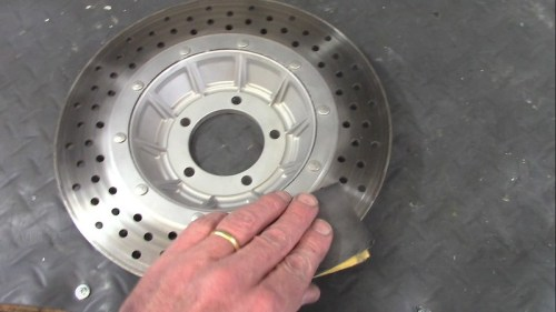 Sanding Rotor Faces with 400 Wet/Dry To Remove Baked On Brake Pad Grunge
