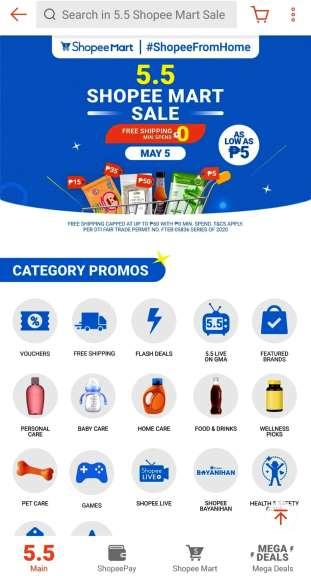 5.5 Shopee Mart Sale Categories