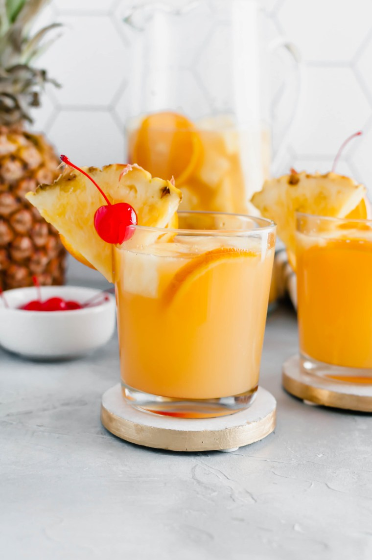 Warm weather calls for this refreshing, tropical Summer Sangria. Sweet moscato wine, tropical juices, coconut rum and delicious fruit meld together to create the tastiest summer drink.