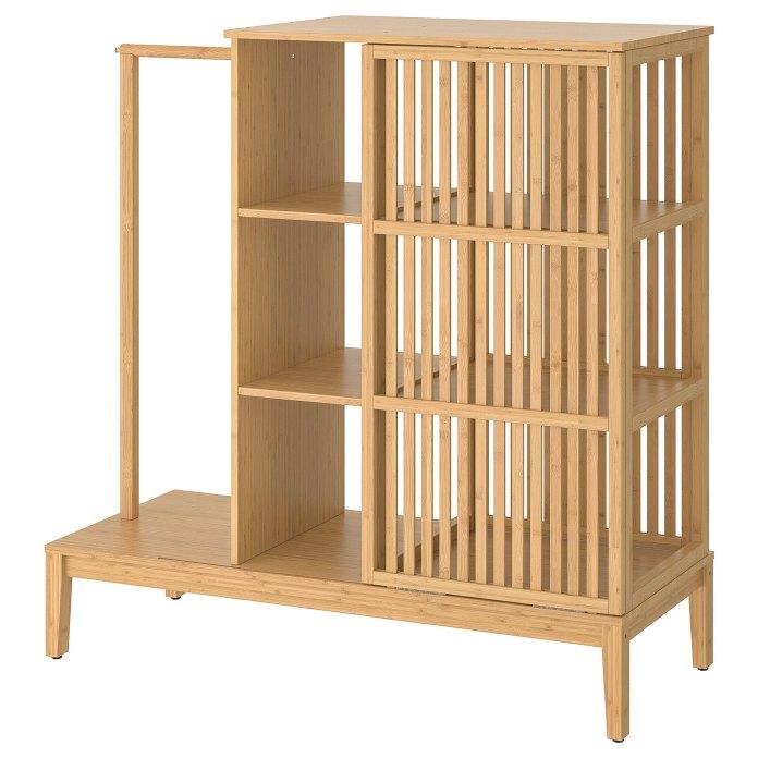 NORDKISA Open wardrobe with sliding door, bamboo