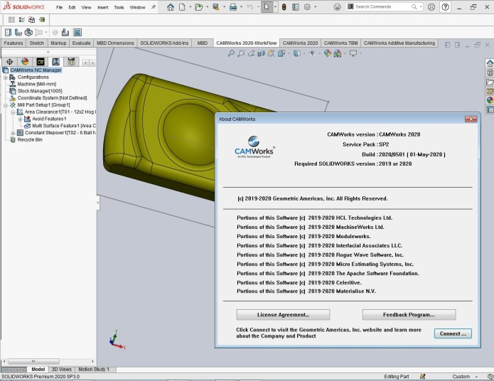 working with CAMWorks 2020 SP2 for SOLIDWORKS 2019-2020 full license