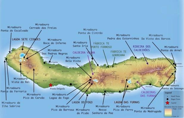 Mapa con los mejores miradores de Sao Miguel en Azores
