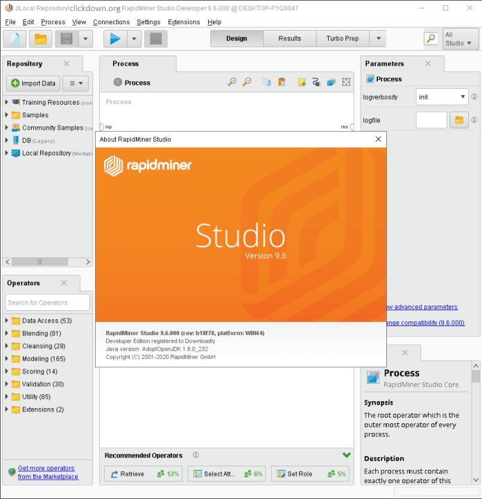 Working with RapidMiner Studio Developer 9.6.0 full license