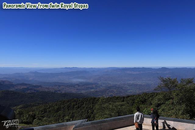 Twin Royal Stupas Panoramic View