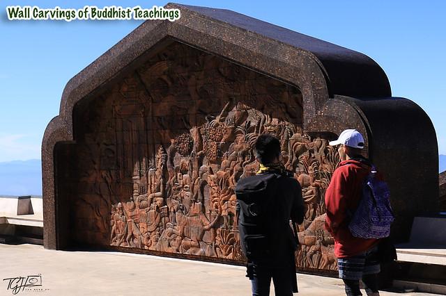 Twin Royal Stupas Wall Carvings