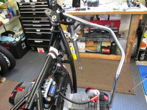 Old Handlebar Used To Apply Anti-Torque When Torquing Steering Stem And Fork Top Cap Bolts