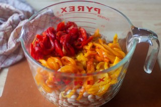 cut the peppers into thin strips