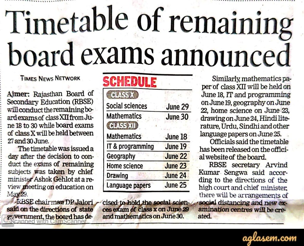 RBSE 12th new exam date 2020