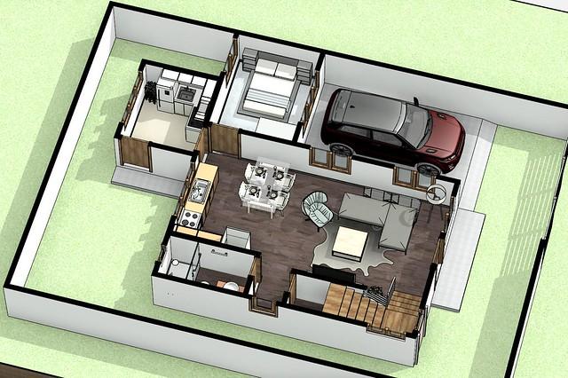 s2 - 3D View - 3D ground floor