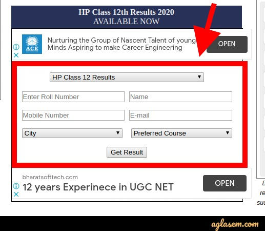 HP Board class 12th result 2020