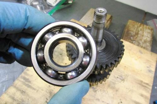Rear Ball Bearing Removed-Inside Face Towards 1st Gear