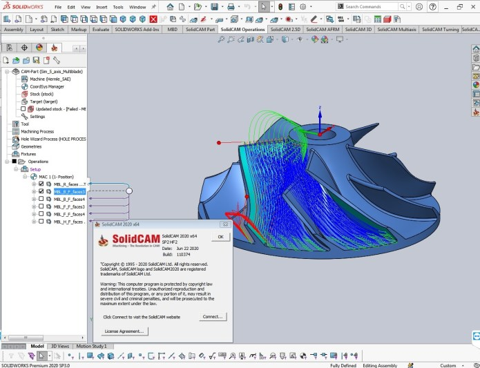 Working with SolidCAM 2020 SP2 HF2 for SolidWorks 2020 full
