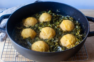 collard greens with cornmeal dumplings