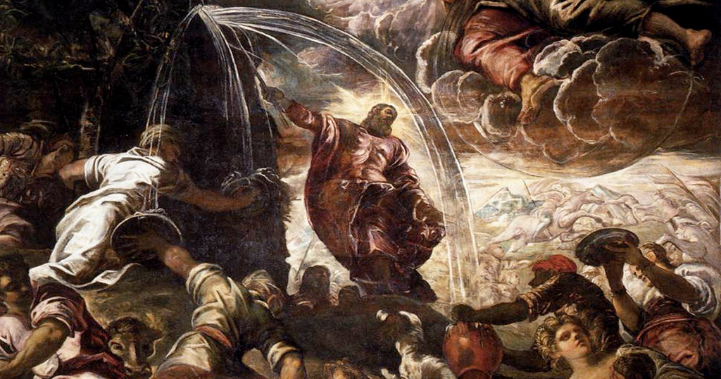 Moses Drawing Water from the Rock by Tintoretto (c.1577)