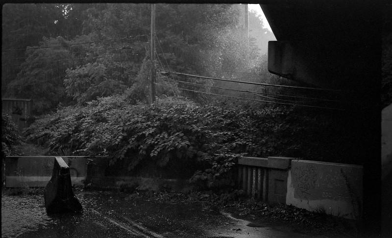 rainstorm, under the interstate II, abandoned bridge, raindrops, puddle, Asheville, NC, FED 4, Industar 61, Fomapan 200, Moersch Eco film developer, 7.1.20